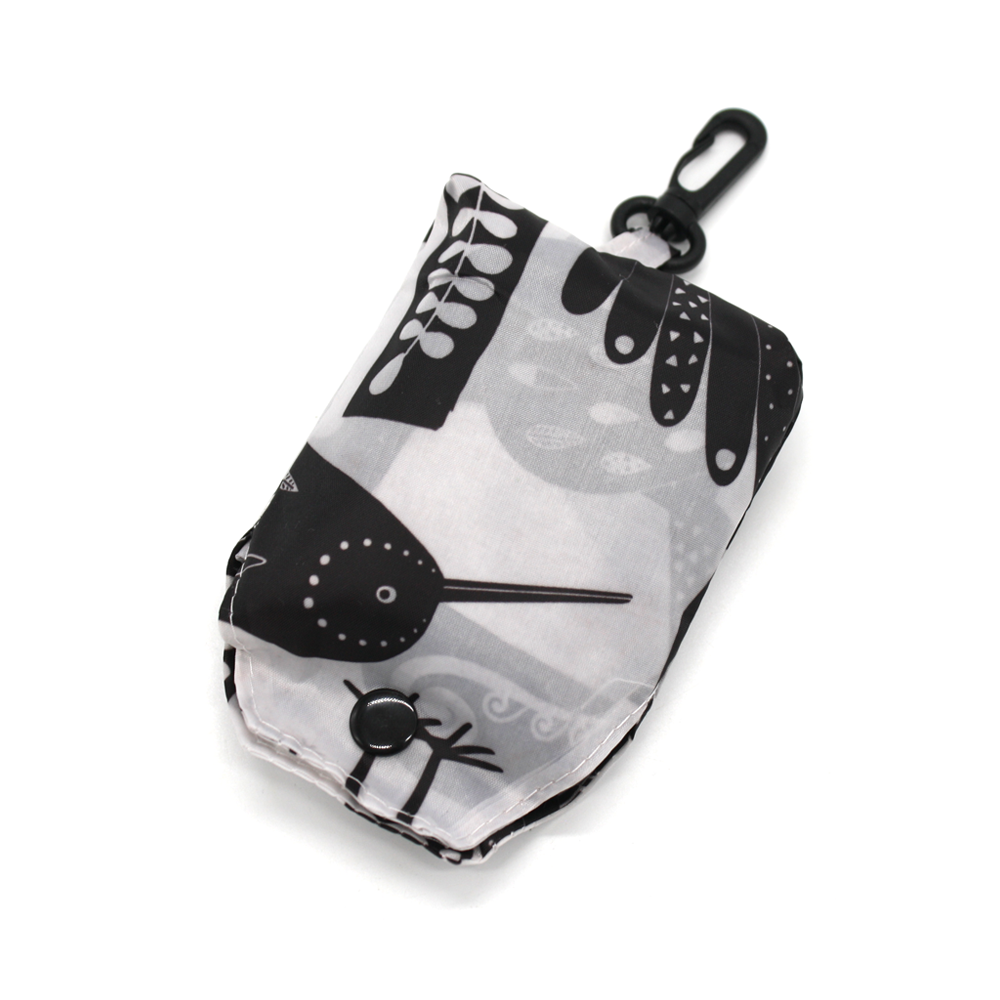 New Zealand Fold Up Shopping Bag with Clip Birds Black and White