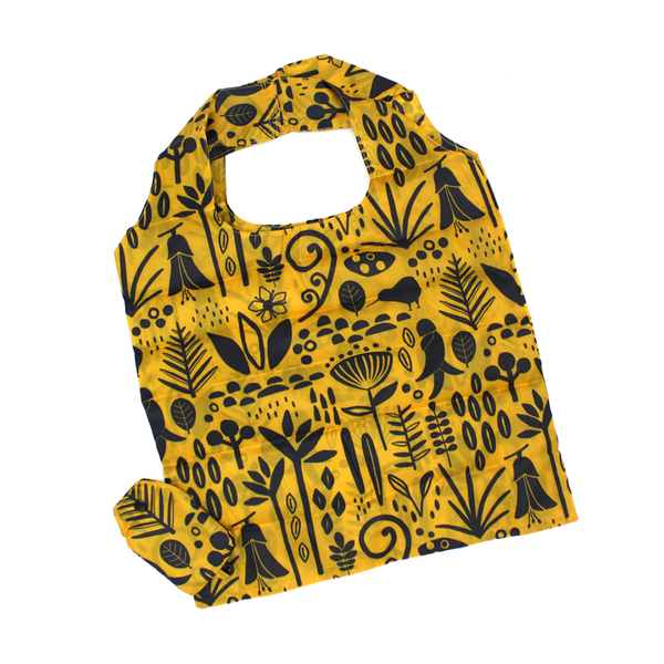 New Zealand Fold Up Shopping Bag with Clip Fauna Yellow