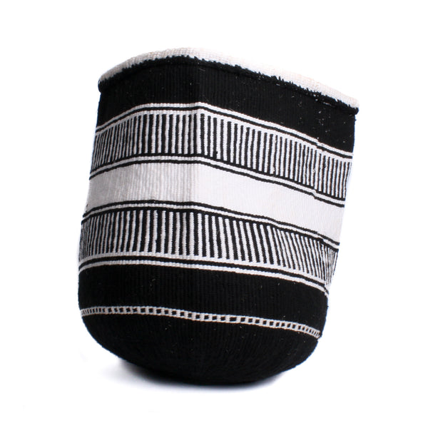 Maka Emali Hand Woven Basket B&W Design A1 Assorted