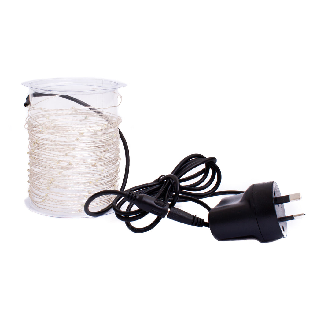 LED Wire Seed Light String 10m Silver Warm White Plug in