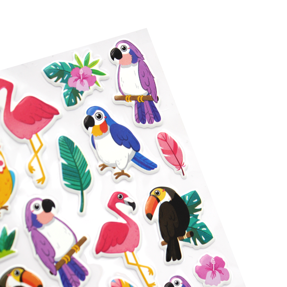 Tropical Bird Puff Stickers