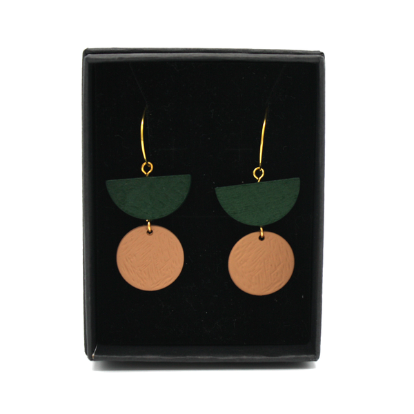 Penny Foggo Earrings Geo Drops Green and Tan