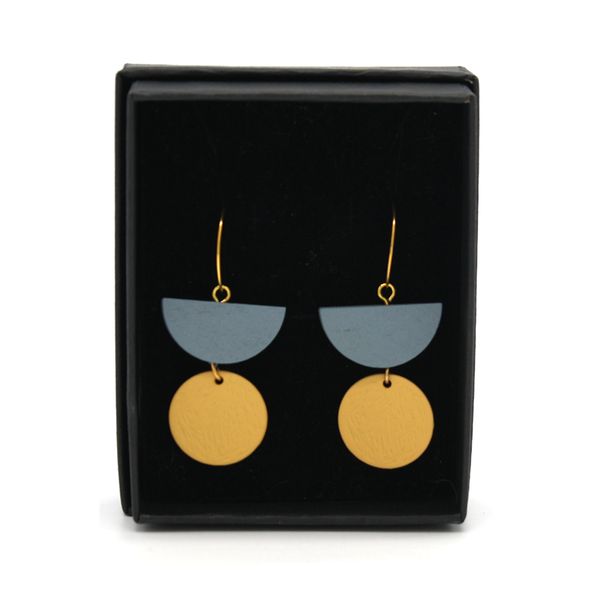 Penny Foggo Earrings Geo Drops Grey and Butter Yellow