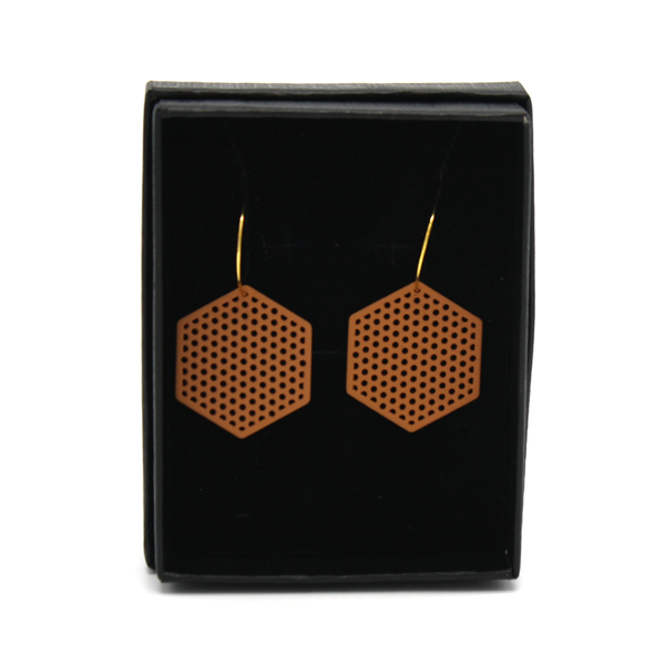 Penny Foggo Earrings Hexagons Tan