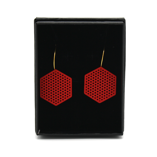 Penny Foggo Earrings Hexagons Red