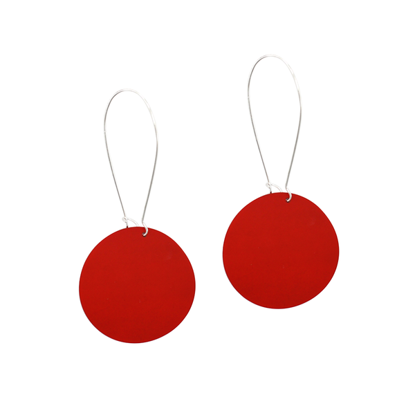 Penny Foggo Earrings Big Spot Silver Red