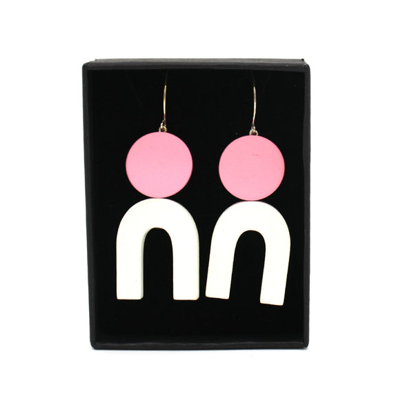 Penny Foggo Earrings U Shapes White and Pink