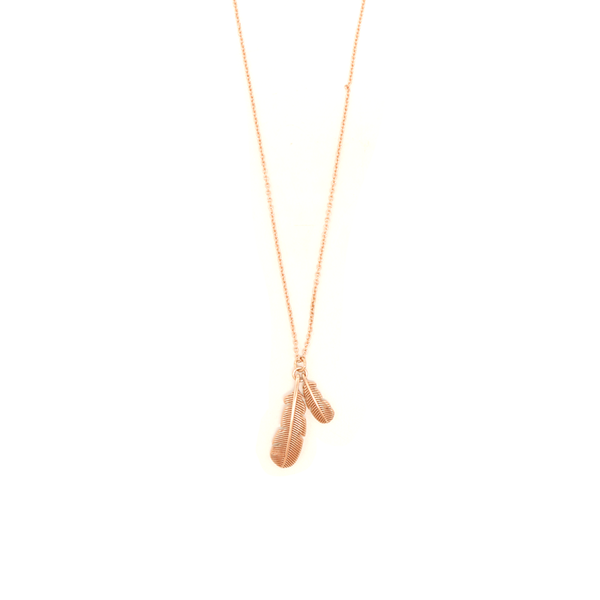 Little Taonga Necklace Huia Feather Rose Gold