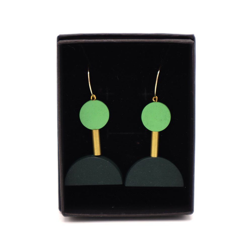 Penny Foggo Earrings Brass and Wood Shapes Green
