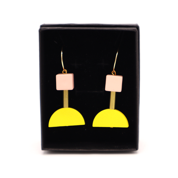Penny Foggo Earrings Brass and Wood Shapes Yellow