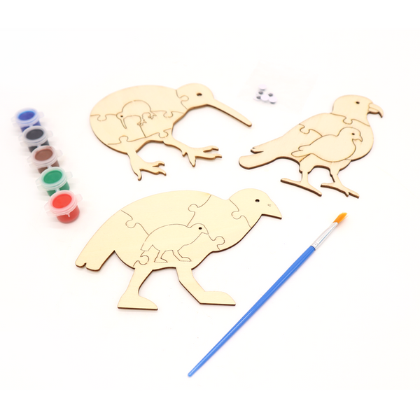 New Zealand Bird Puzzles Play and Paint Set of 3