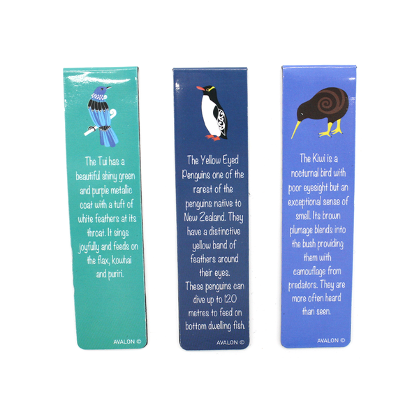 New Zealand Magnetic Bookmarks Native Birds Set of 3