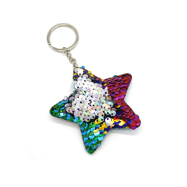 Sequin Rainbow Star Keyring