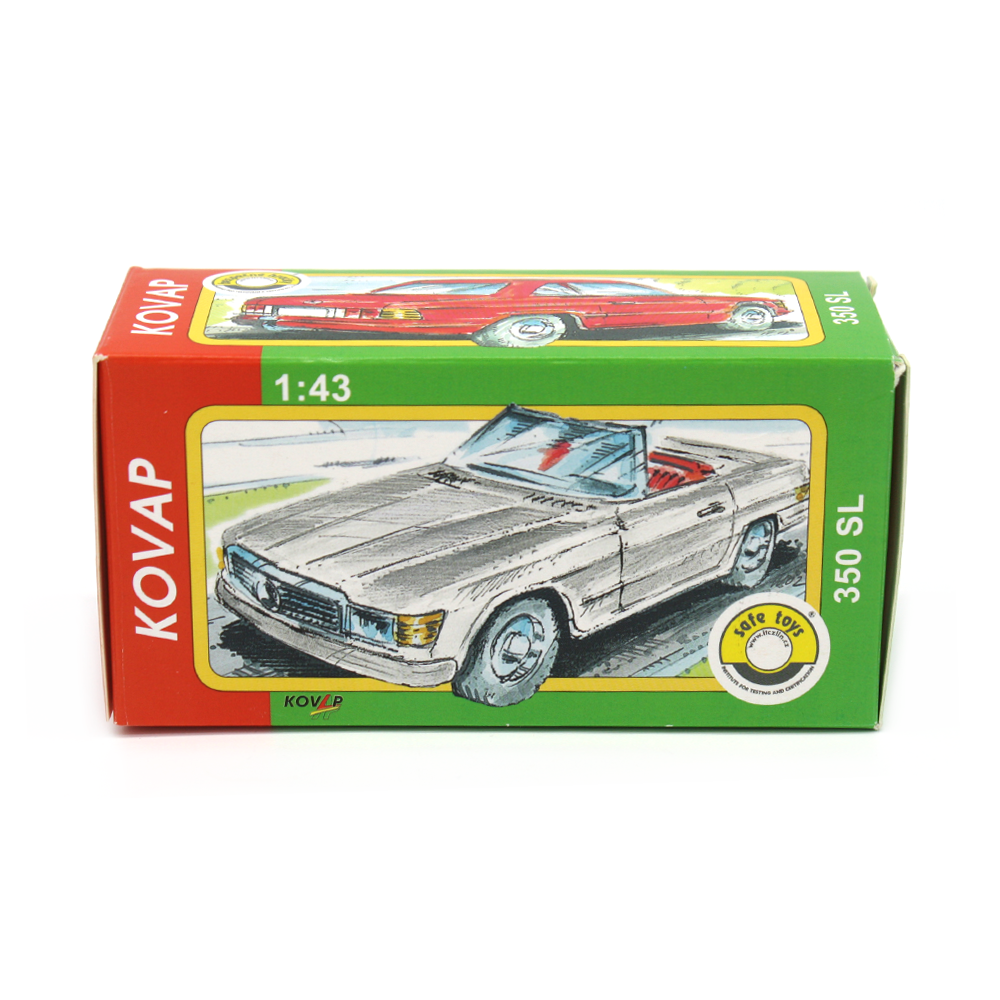 Tin Toy Red Car with Caravan