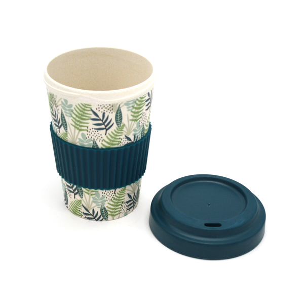 NZ Reusable Bamboo Coffee Cup Beige with Green and Blue Flora