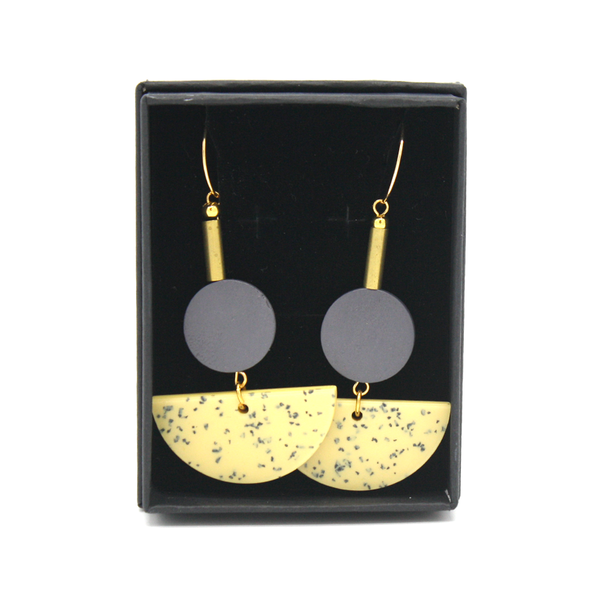 Penny Foggo Earrings Speckle Semicircle Yellow