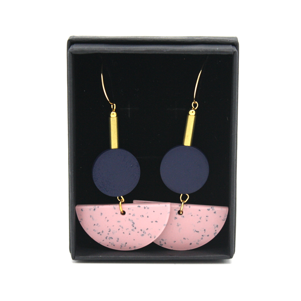 Penny Foggo Earrings Speckle Semicircle Pink