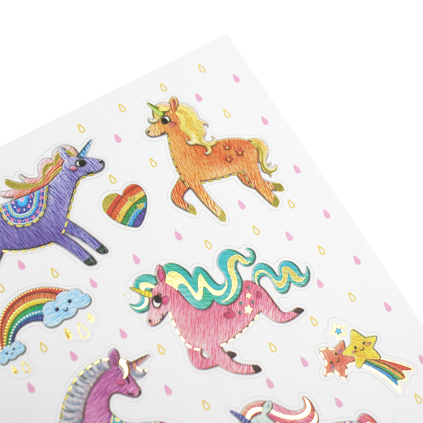 Gold Lined Unicorn Stickers