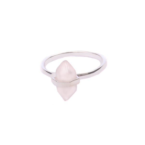 Iko Iko Ring Crystal Rose Quartz Silver