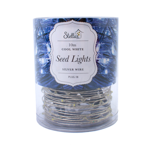 LED Wire Seed Light String 10m Silver Cool White Plug in