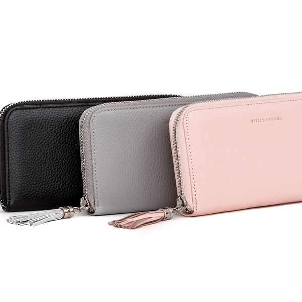 Stella + Gemma Leather Wallet with Tassel Rose