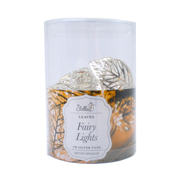 LED Wire Leaves Lights Silver Warm White