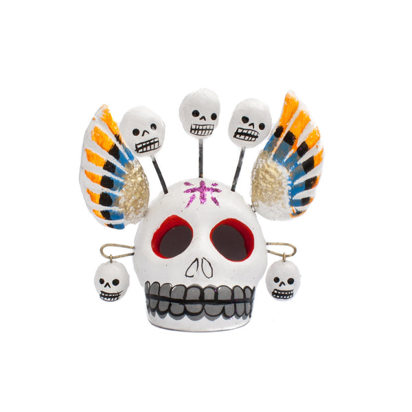 Mexican Clay Skull with Wings and Skulls Assorted