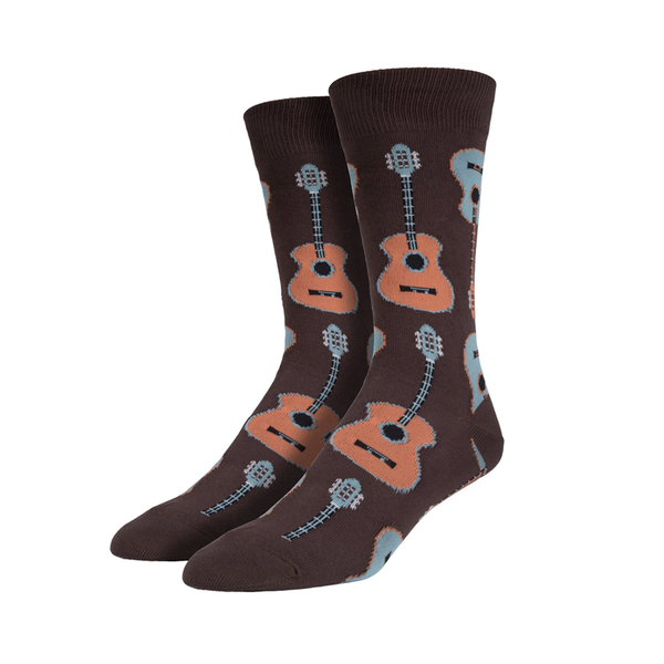 a55e5fa2b1e73 Socksmith Socks Mens Guitars Brown