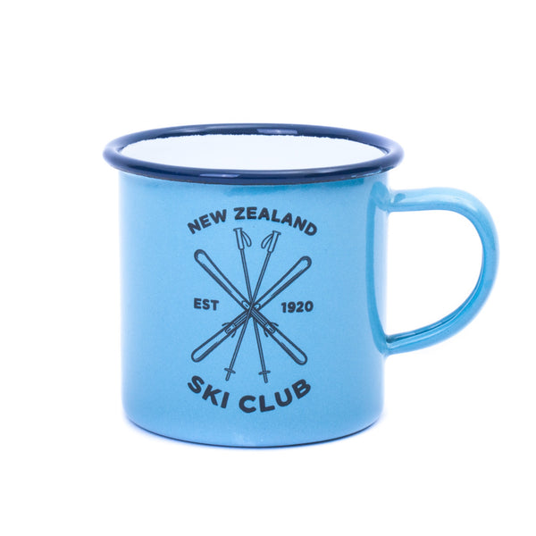 New Zealand Ski Club Enamel Mug Blue