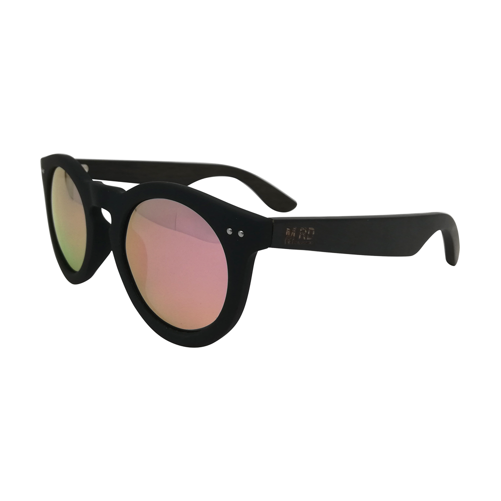 Moana Road Sunnies Grace Kelly Black with Pink Reflective Lens
