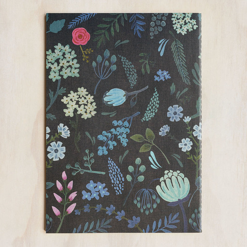 O-Check Design Graphics Cahier Notebook Ruled Large Garden Black