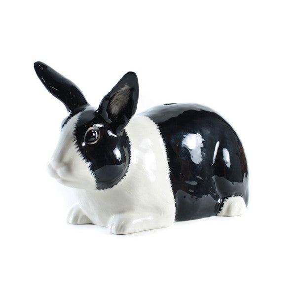 Quail Dutch Rabbit Money Box Black and White