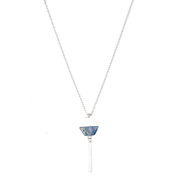 Stella + Gemma Necklace Hexagon with Bar Lapis Silver