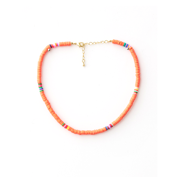 Stella + Gemma Necklace Clay Discs Coral