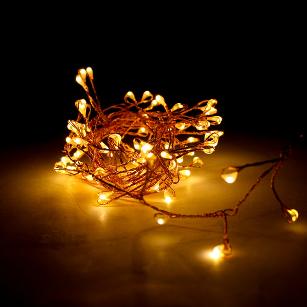 LED Wire Firecracker Copper Warm White Seed Light String 2m