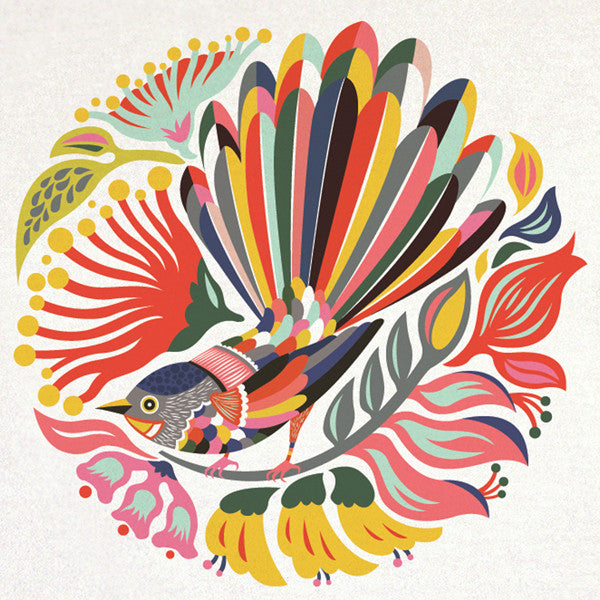 Tofutree Tea Towel Colourful Fantail