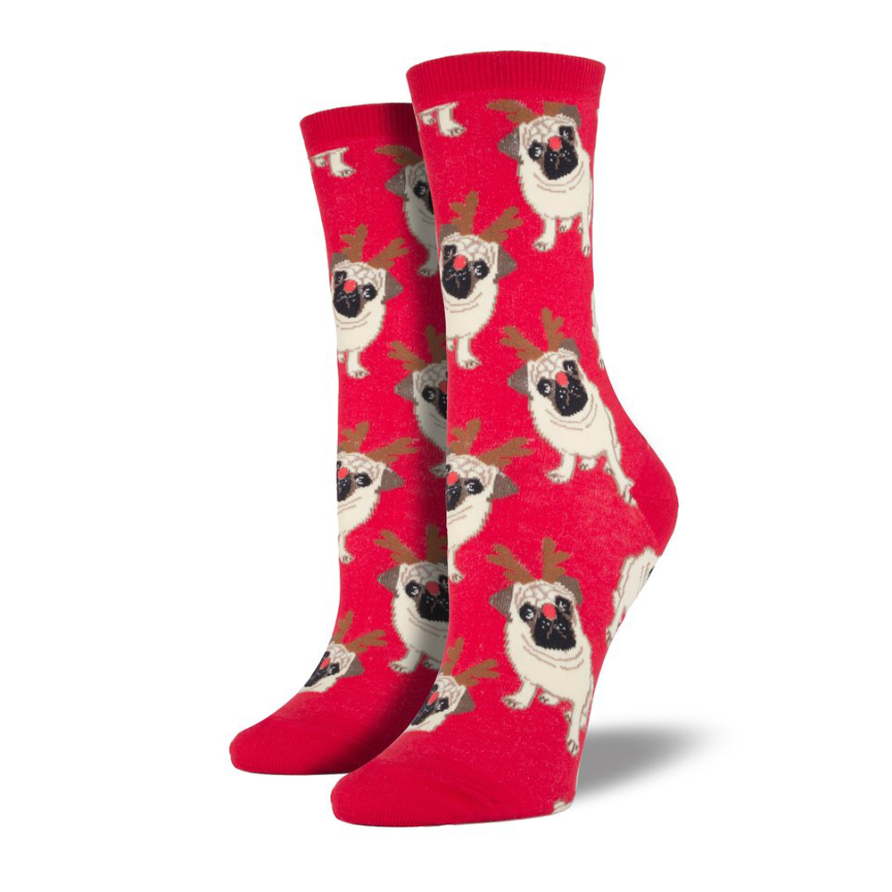 Socksmith Socks Womens Christmas Antler Pug