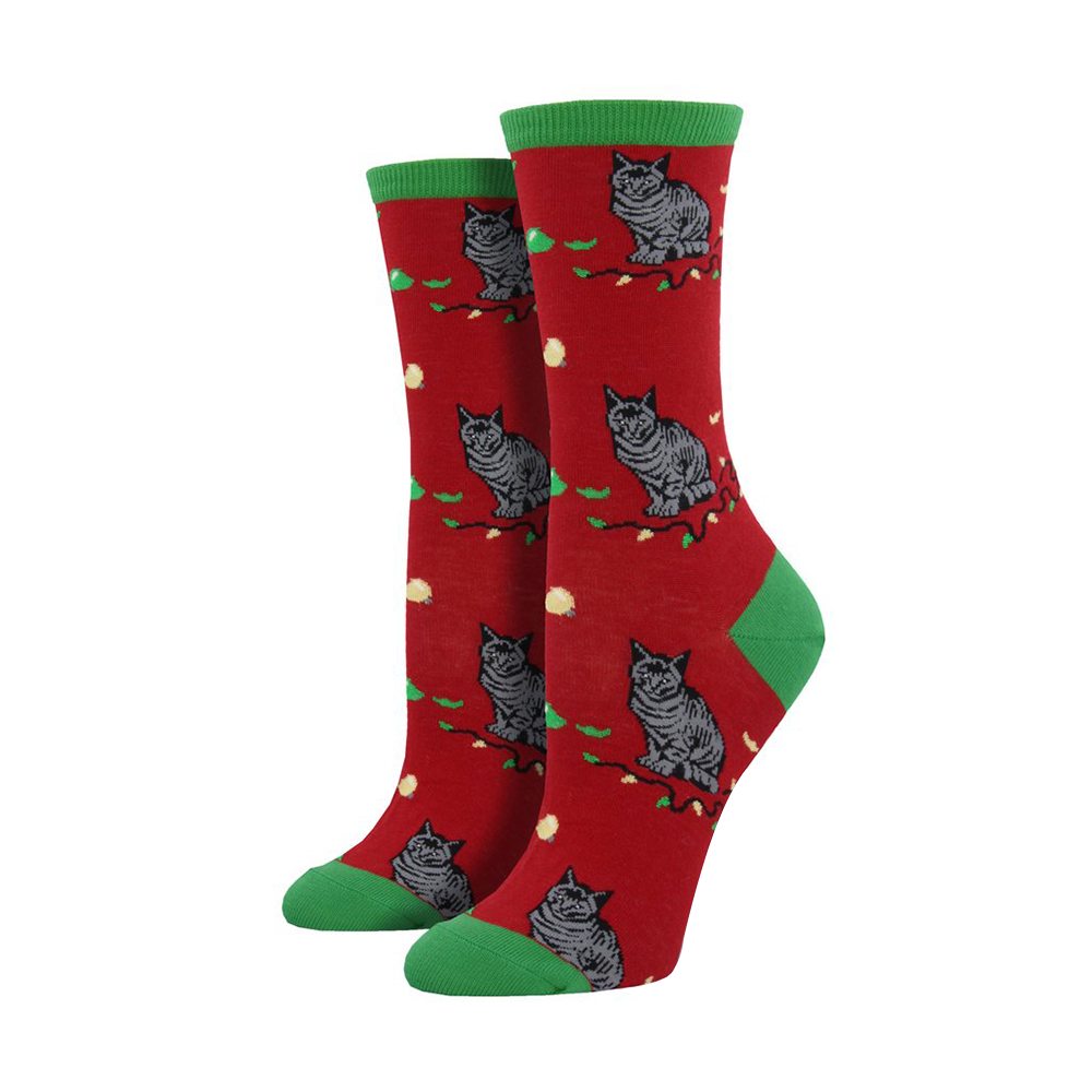Socksmith Socks Womens Christmas Cat Astrophe Reds