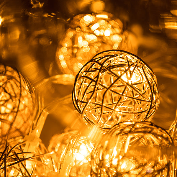 LED Woven Wire Orbs Fairy Lights Gold