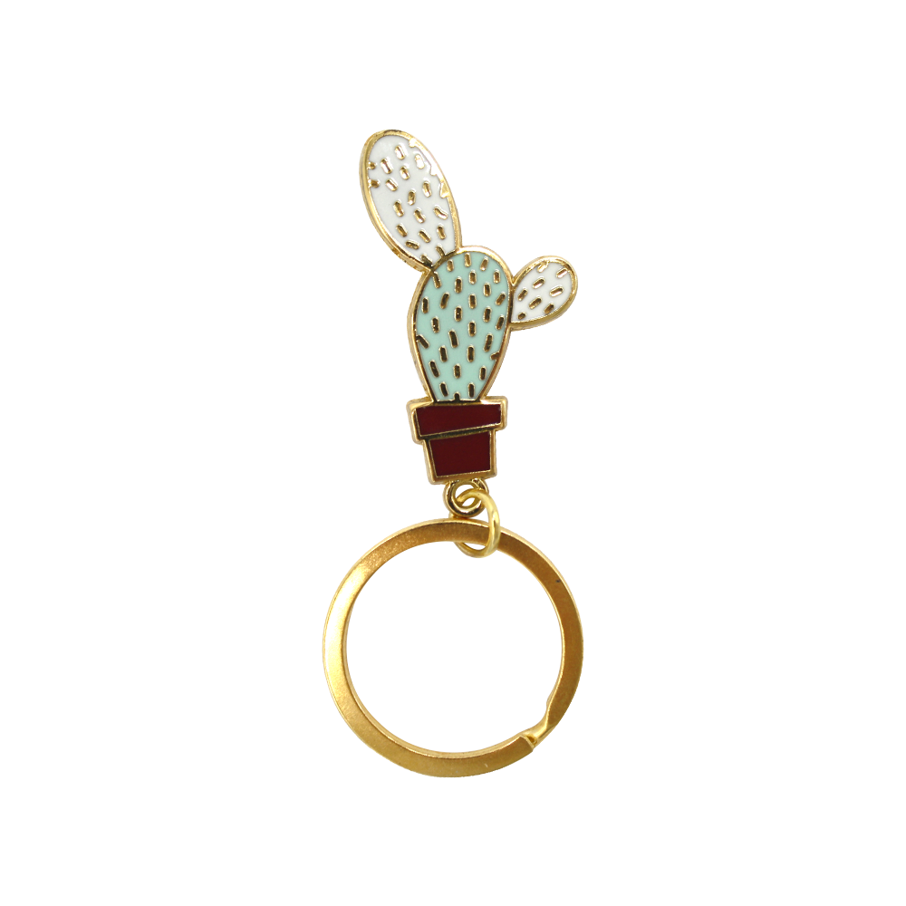 Enamel Keyring Cactus prickly Bumpy  in Brown Pot