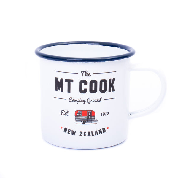 Mt Cook Camping Ground Enamel Mug White