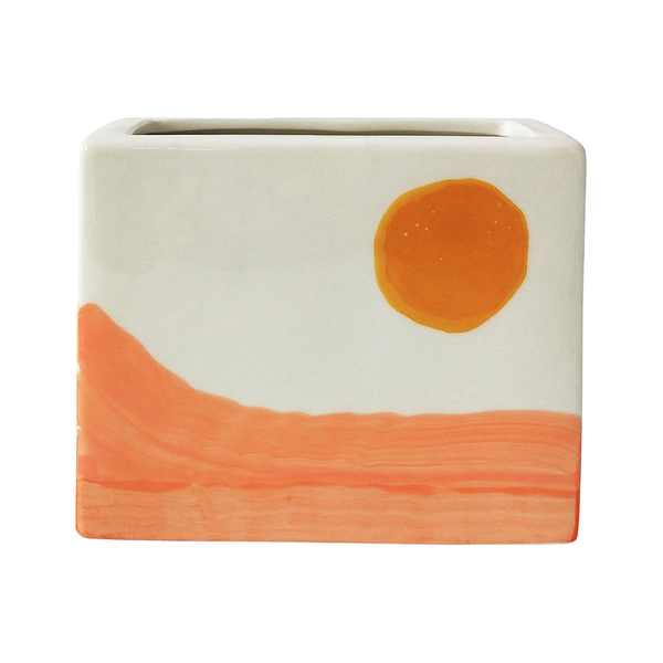 Skyla Landscape Wall Planter Orange White