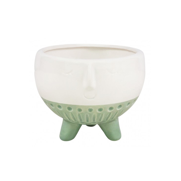 Face Planter Footed Glazed Mint White