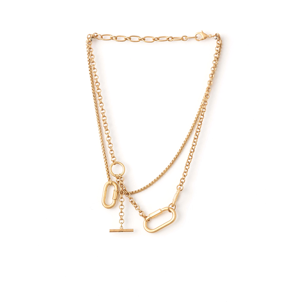 Stella + Gemma Necklace Chain Choker and Fob Gold