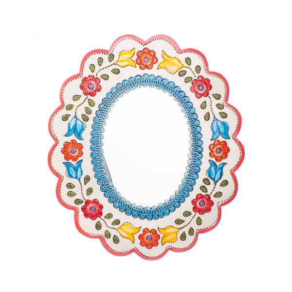 Mexican Tin Mirror Oval Floral