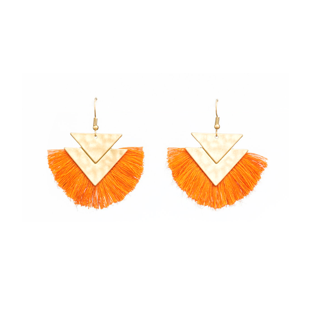 Stella + Gemma Earrings Chevron Sienna Cotton Gold Orange