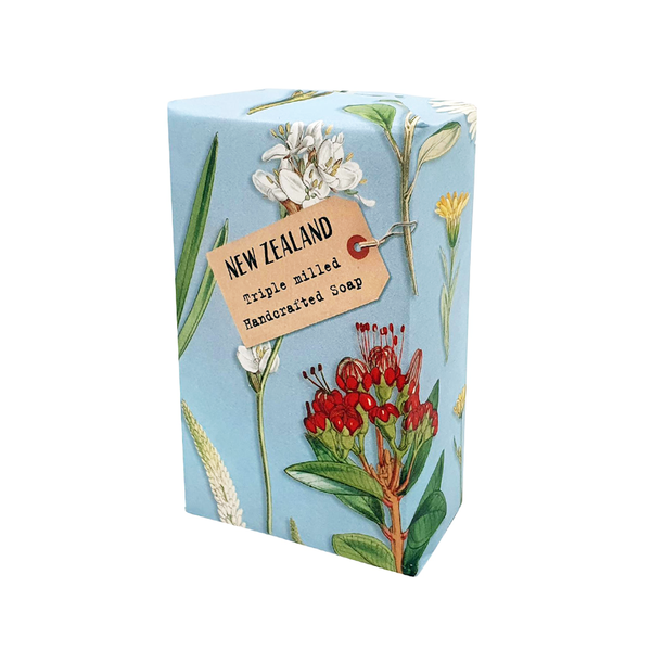 New Zealand Native Flowers on Blue Soap