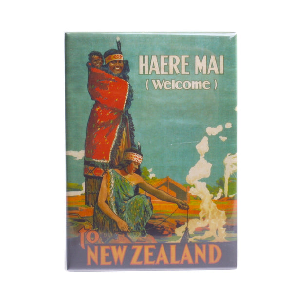 NZ Retro Fridge Magnet Haere Mai