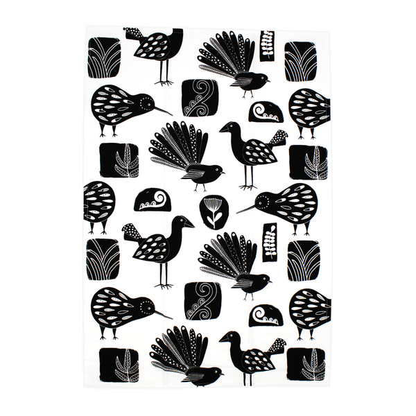 New Zealand Tea Towel Birds Black and White