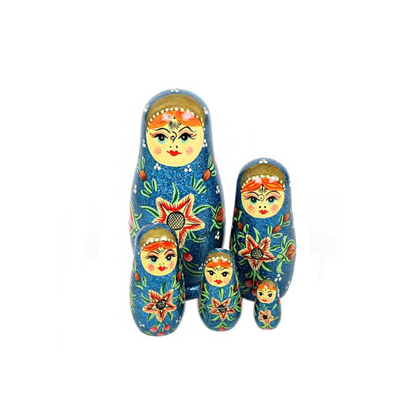 Nesting Dolls Blue Glitter Set of 5